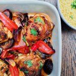 Harissa and pomegranate molasses traybake chicken